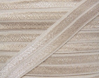Taupe Fold Over Elastic - Elastic For Baby Headbands and Hair Ties - 5 Yards of 5/8 inch FOE