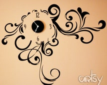 Vinyl Clock Decal Sticker - Swirly Dream - Modern Clock - ultra-quiet movement decorative