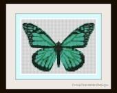 Cross stitch pattern - green butterfly - Instant download!