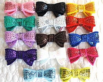 """You PICK COLORS - 1.5"""" Mini Sequin Bows - Wholesale Lot - Sequin Bows - Mini Sequin Bows - Headband Supplies - Wholesale Mini Sequin Bows"""