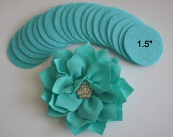 """25 Turquoise Felt 1.5"""" Circles - 1.5"""" Felt Circles - Flower Backing - Turquoise Felt Circles"""