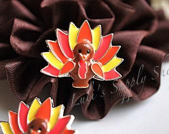 Turkey Rhinestone Embellishments - Thanksgiving rhinestone buttons - Metal Rhinestone Embellishments -  Hair Bow Centers - Ribbon Sliders