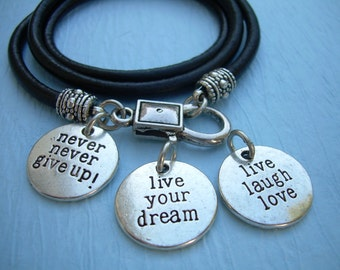 Leather Inspirational Charm Wrap Bracelet Live Your Dream Never Give Up Live Laugh Love Black Brown Natural