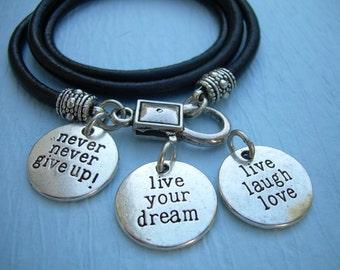 Inspirational Charm Bracelet, Wrap Bracelet,  Leather Bracelet, Womens Bracelet, Mens Bracelet, Womens Jewelry, Mens Jewelry