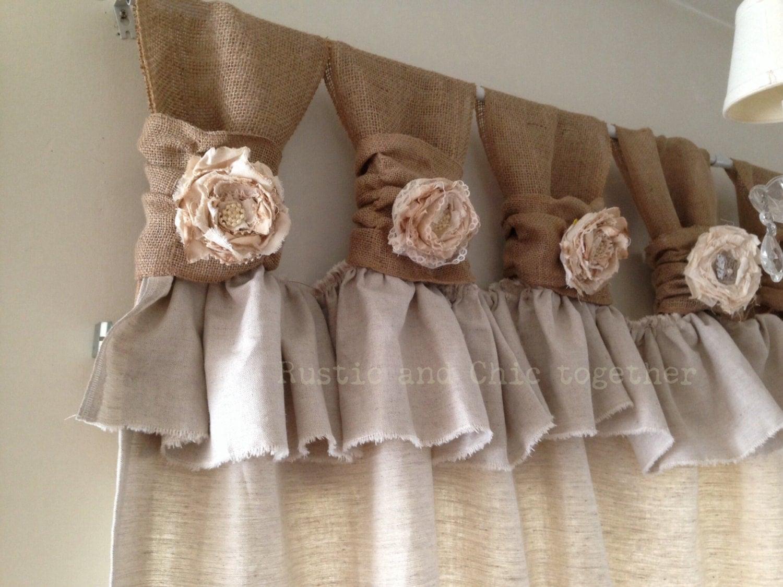 Burlap drop cloth wide ruched tabs curtains tea dyed rosette for Estilos de cortinas