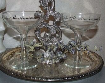 20% Discount Gorgeous Vintage  Champagne Coupes Hollow Cut Stem -Set of 2 -  25th Wedding  Anniversary Great Gatsby