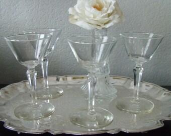 Vintage Crystal six-sided   Stem  Cordial Glasses  Set of    Mad Men Hollywood Regency
