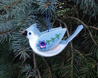 Tufted Titmouse Ornament- Rustic Felt Bird Ornament- Wool Felt Ornament- Folk Art Bird Ornament