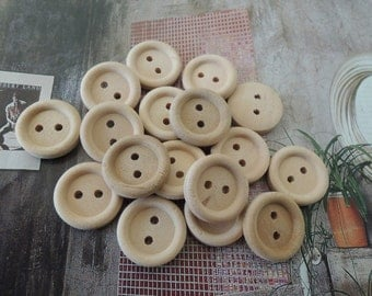 35Pcs  15mm Unfinished Natural  Wood button 2 holes No varnish ( W536)