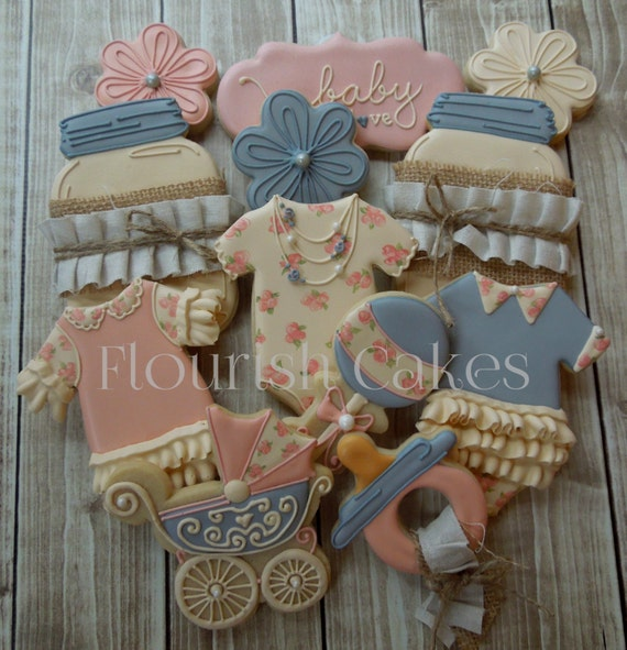 shabby chic cookies baby shower cookies sugar cookies, Baby shower invitation