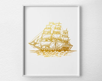 Pirate Ship Art, Sailing Print, Faux Gold Foil, Nautical Print, Nautical Art, Nautical Decor, Gold Foil Art, Minimalist, Gold Print, 0199