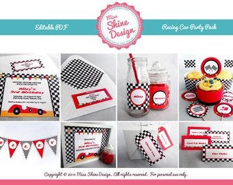 Race Car Party Pack - Editable Text PDF - INSTANT DOWNLOAD