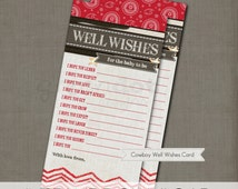 INSTANT DOWNLOAD well wishes for baby to be, western baby shower game card, cowboy, cowgirl, cowhide, chevron, burlap, printable