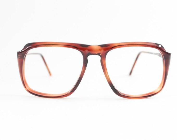 Vintage 80s Aviator Glasses | Tortoiseshell Rounded Eyeglass Frame | NOS 1980s Eyeglasses - Peninsula Amber
