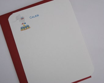 Circus Thank  You note cards, Personal Note Cards Stationary