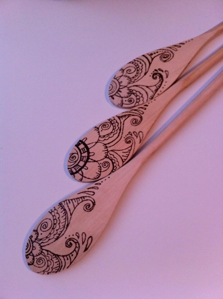 decorative wooden spoons wood burned designs. Black Bedroom Furniture Sets. Home Design Ideas