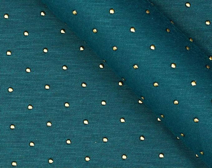 Dark Teal/Peacock Blue with White Polka Dots Rayon
