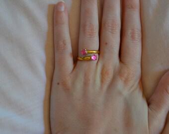 Vintage Pink adjustable ring; rose bright French pink/fuchsia or lavender color