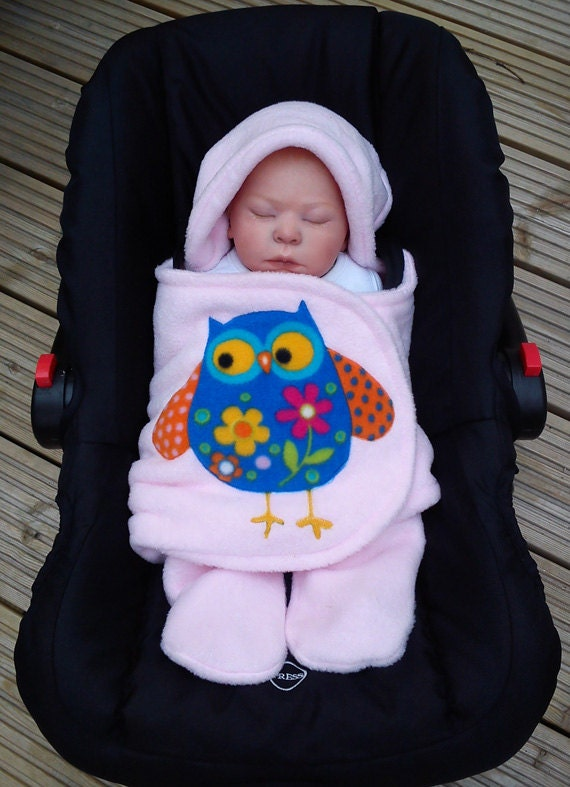 Items Similar To Owl Car Seat Cosy Wrap Swaddle Blanket