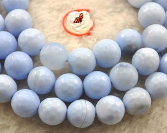 Blue Agate faceted round beads 10mm,37 pcs