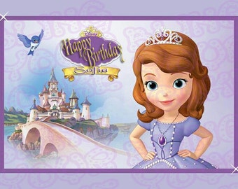 Disney Princess Sofia the First Inspired Edible Icing Quarter Sheet Cake Decor Topper - STF3