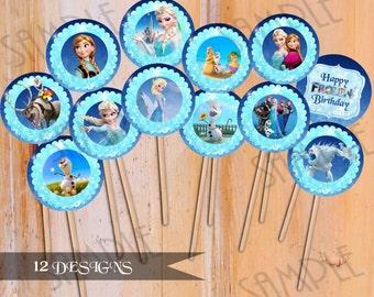 INSTANT DOWNLOAD Frozen Cupcake Toppers Frozen Birthday - 12 Designs - Frozen Party Printable, Digital Download
