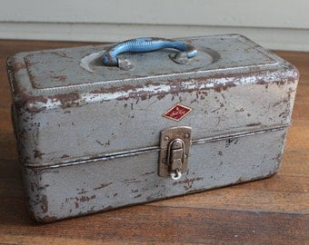 Vintage Light Grey / Dusty Blue Metal Box - Tool or Tackle Box (Sport King)