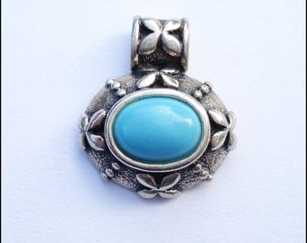 Sterling Silver and Turquoise Dogwood Blossom Pendant