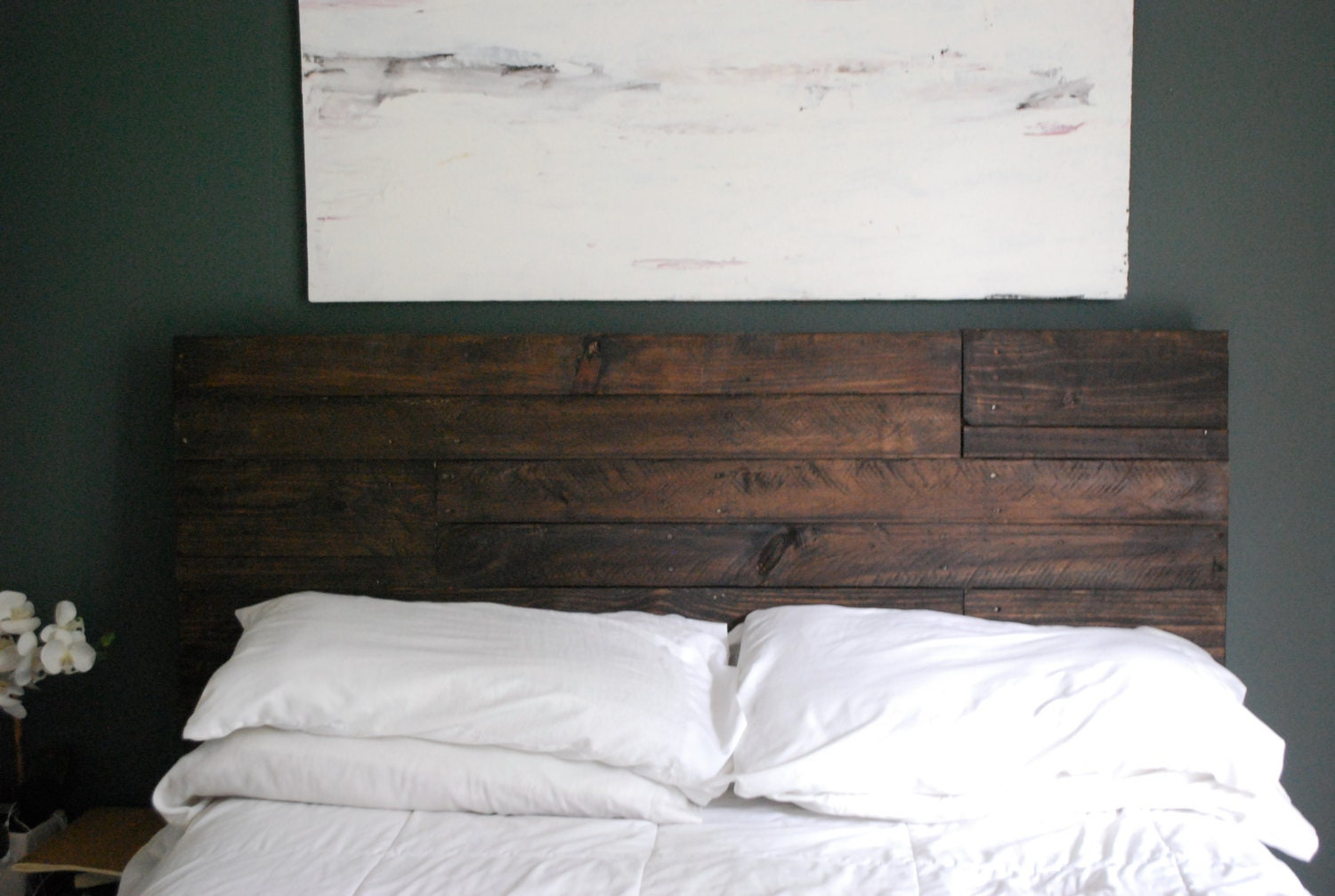 Industrial and elegant reclaimed wood headboard espresso for Different headboards