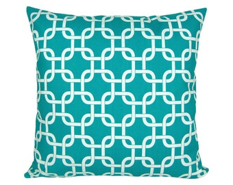 Graphic pattern GOTCHA turquoise and white pillow 40 x 40 cm