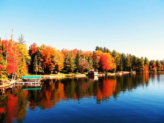 Old Forge Fall Foliage- Old Forge Lake Cruise Boat Tour Autumn, Adirondacks New York Mountains