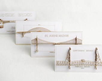 Set of Four 3D Cards of  Portland Oregon Bridges - laser cut models - option one