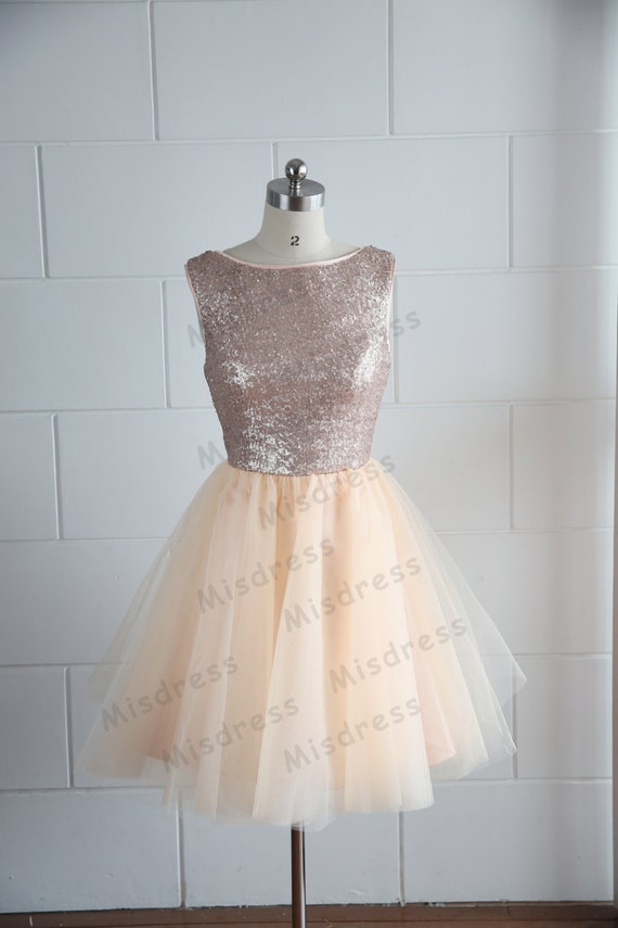 Champagne Gold Sequins Tulle Dress Bridesmaid Dress/Prom Dress Deep V Back/Backless Knee Length Short Dress