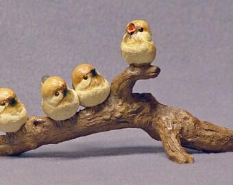 Handmade Ceramic Birds on a Branch,  Bird sculpture, Bird Figurine, Bird Family, Ceramic Sculpture