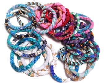 Wholesale Fair Trade Colored Hand Blown Glass Bead Stretch / Roll On Bracelet