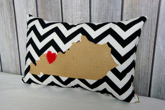 State Pillow. Burlap Pillow. Chevron Pillow. Pillow Cover. Pillows. Accent Pillow. Decorative Pillow.