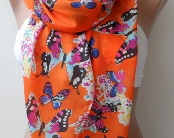Butterfly scarf, elegant scarf, Summer scarf, Pareo, orange scarf, long scarf, colourfull scarf, gifts for her, soft scarf, chiffon scarf