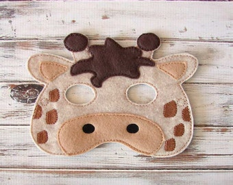 Giraffe Mask - Felt - Kids Mask - Costume - Dress Up - Halloween - Pretend Play