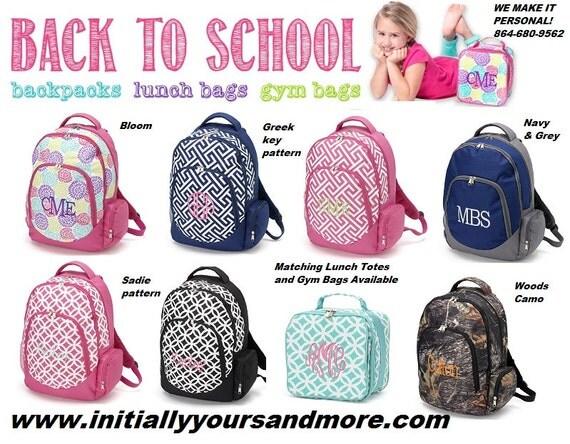 Monogram Backpack Camo Chevron Sadie Greek Key Pink Boys