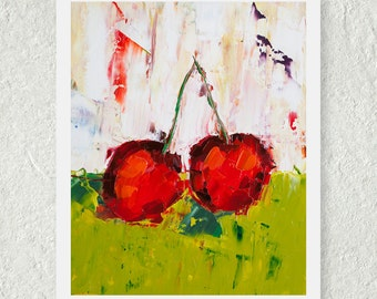 Cherry Print, Fine Art Print, Fruit Print, Red Kitchen Decor, Kitchen Art