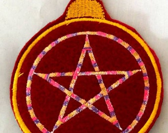 Pentacle embroidered Yule Ornament  wiccan pagon winter Solstice