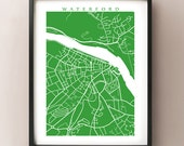 Waterford Map - Munster, Ireland poster - Irish Art - Choose your colour and size - CartoCreative