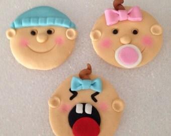 Fondant edible baby cupcake toppers