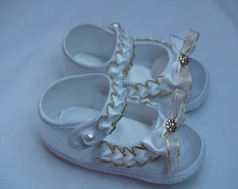 Baby Girl Shoes Satin White Gold