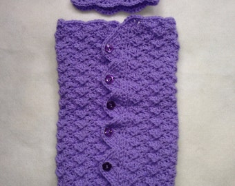 Lavender cocoon and matching hat