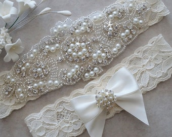 CLAIRE Style A-Wedding Garter - Bridal Garter - Pearl and Crystal Rhinestone Garter and Toss Garter Set
