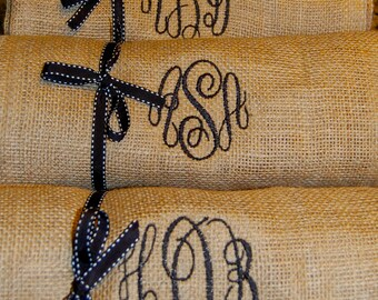 Embroidered Monogram Burlap Table Runner