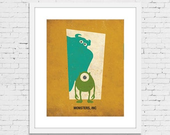Monsters, Inc Retro Minimalist Poster Print