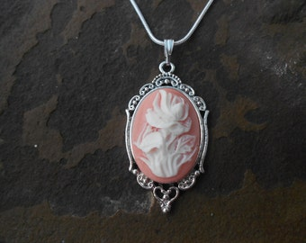 "Stunning Iris/ Rose Cameo Pendant Necklace (white on pink)---.925 plated 22"" Chain--- Great Quality"