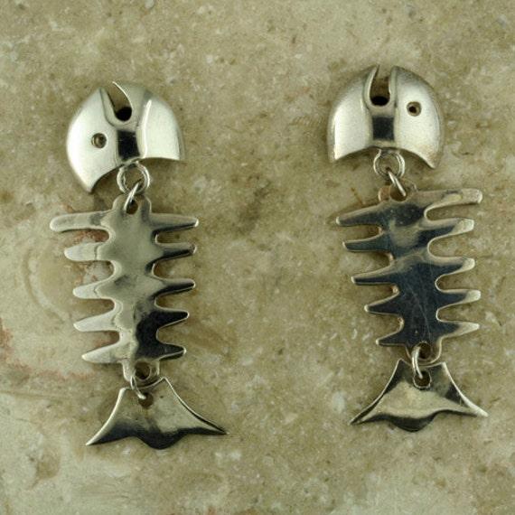Shimmering sterling silver fish bone earrings fishing lover for Fish bone earrings